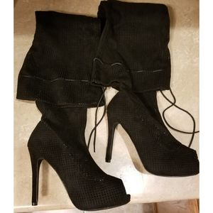 Black Thigh High Peep Toe Stiletto's